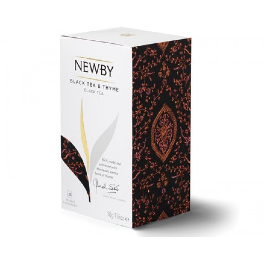 Newby Black Tea and Thyme / Черный чай с Чабрецом (25 пакетиков по 2 гр)